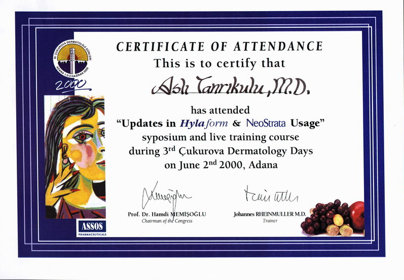 2000-002-Updates in Hylaform & NeoStrata Training Course Certificate