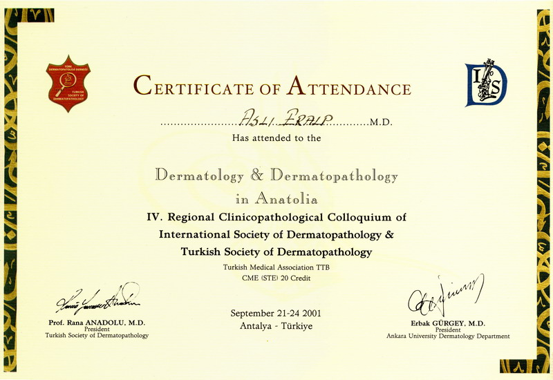 2001-002-IV. Regional Clinicopathological Colloquim Certificate of Attendance