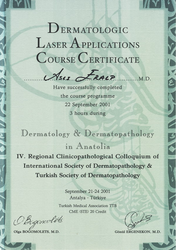 2001-005- Dermatologic Laser Applications Course Certificate