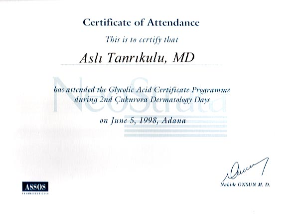1998-003-Certificate of Attandence Glycolic Acid Certificate Programme